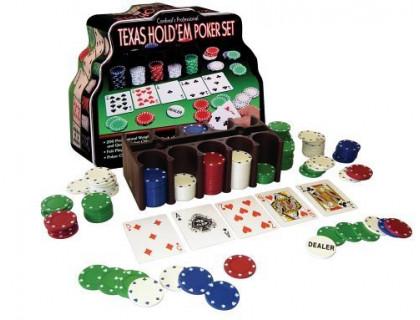 Покерный набор на 200 фишек с номиналом в жестяном кейсе