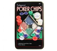 Покерный набор на 100 фишек с номиналом в жестяном кейсе