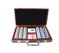 Покерный набор на 300 фишек с номиналом в деревянном кейсе