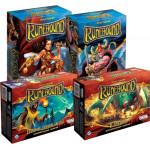 Настольная игра Runebound. Набор из 4 дополнений Позолоченный клинок + Ярость гор + В паутине + Падение тёмной звезды